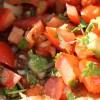 Onions, coriander and tomato.