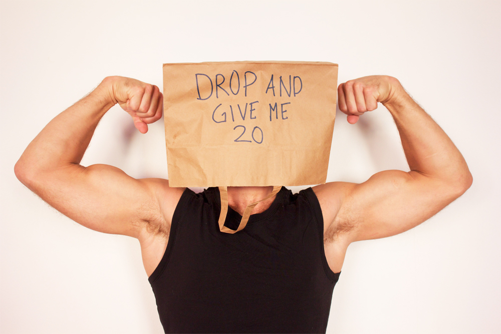 Drop and give me 20 is a fun way of getting your daily training done.