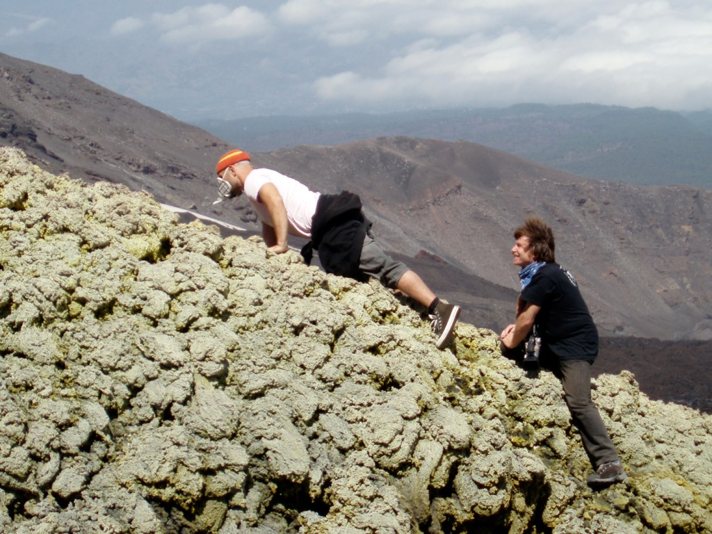 Gasmask and guide on Etna.