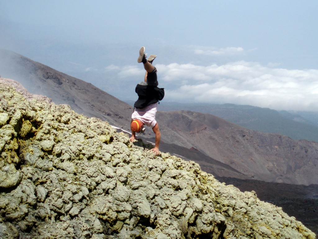 Gas mask and handstand on Etna.